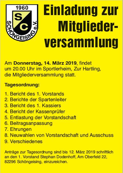 Mitgliederversammlung mit Neuwahlen @ Vereinsheim